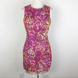 Belle Badgley Mischka Crochet Pink Party Dress